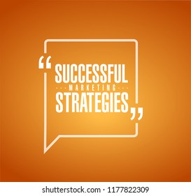 Successful marketing strategies line quote message concept isolated over a orange background