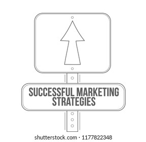 Successful marketing strategies line street sign isolated over a white background