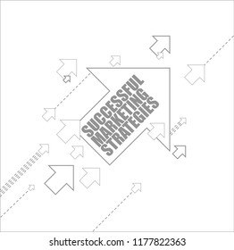 Successful marketing strategies multiple arrows following a leader concept, isolated over a white background
