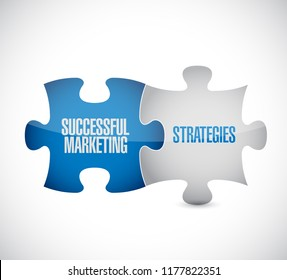 Successful marketing strategies puzzle pieces message concept isolated over a white background