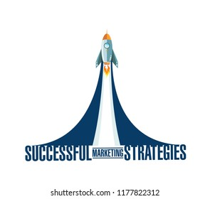 Successful marketing strategies rocket smoke message illustration isolated over a white background