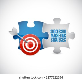 Successful marketing strategies target puzzle pieces message isolated over a white background
