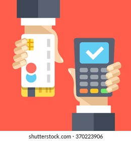 Successful payment via payment processing system. Hand with credit card, hand with POS terminal. Modern flat design for web banners, websites, printed materials, infographics. Vector flat illustration