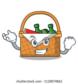 Successful picnic basket character cartoon