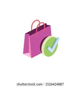 Successful purchase. Vector 3d isometric, color web icon, new flat style. Creative illustration design, idea for infographics.