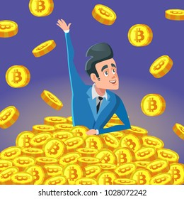 Successful Rich Businessman in Pile of Bitcoin Coins. Crypto Currency Millionaire. Vector illustration