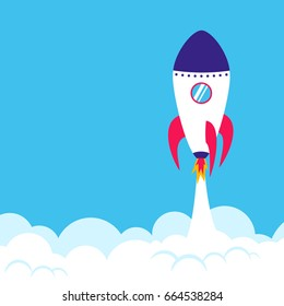 Successful rocket launch. Start up concept. Square format simple vector illustration of a skyrocket taking off on blue background
