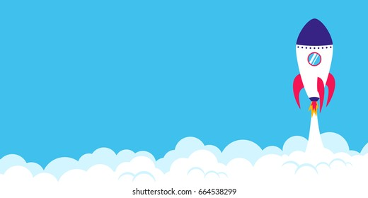 Successful rocket launch. Start up concept. Landscape format simple vector illustration of a skyrocket taking off on blue background