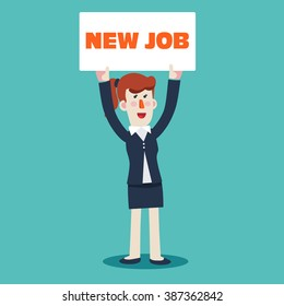 "Successful smiling young business woman holding a placard with inscription "" New job"". Welcome to the new job vector business concept. Start and time for a new job illustration"
