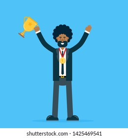 Successful smiling young businessman in office suit celebrates victory in competition holding chalice trophy wearing golden medal. Flat cartoon vector illustration.