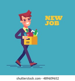 Successful smiling young man going to the new job with box. Welcome to the new job business concept. New job vector illustration in flat design.