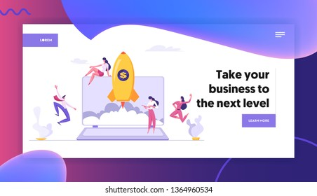 Successful Start Up Concept Landing Page with Business People Characters Launches Rocket from Laptop. Space Ship Metaphor Startup, Teamwork E-commerce Banner, Website, Web Page. Vector illustration