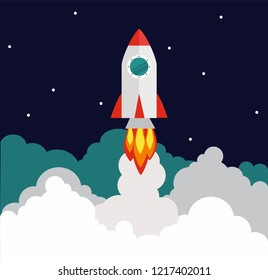 Successful startup business concept. Vector illustration with rocket launch on the background.