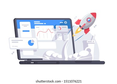 Successful start-up launch vector illustration. Space rocket flies up from laptop with graphs charts and diagram on screen flat style design. New business project concept