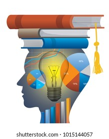 Successful student of economics.  Stylized male head silhouette with economy charts and with books on the head symbolizing mortarboard. Vector available.