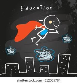 Successful Superhero kid flying, chalk on blackboard educational vector doodle style hand drawn illustration.