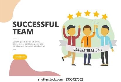 Successful Team flat design banner illustration concept for digital marketing and business promotion