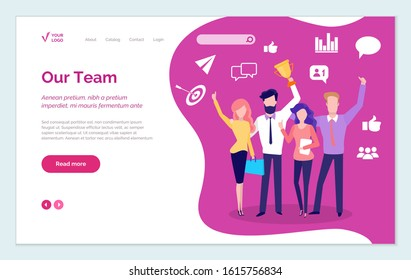 Successful team presentation, victorious teamwork and achievement of people working together. Personages with golden trophy. Man and woman with cup. Website or webpage template, landing page vector