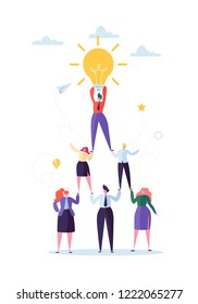 Successful Team Work Concept. Pyramid of Business People. Leader Holding Light Bulb on the Top. Leadership, Teamworking and Creative Idea. Vector illustration