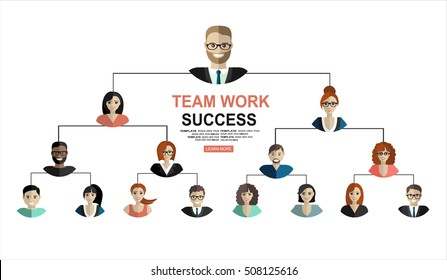 Successful teamwork, hierarchy of company flat illustration isolated, human resource. Modern flat design concepts for web banners, web sites, printed materials, infographics.