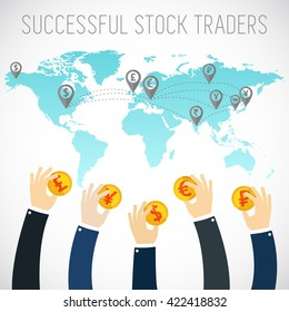 Successful trader. International business visual concept. Investment. Businessman hands holding gold coins. Trader. Foreign currency investment. Money exchange.
