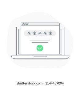 Successful web browser Login page on Laptop Screen with password form. Security, personal access, user authorization, approved web page sign in form with check mark. Flat linear isolated login page
