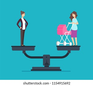 Successful woman standing on scales, choosing between career and family. Business vector concept famil or, career, balance business and life illustration