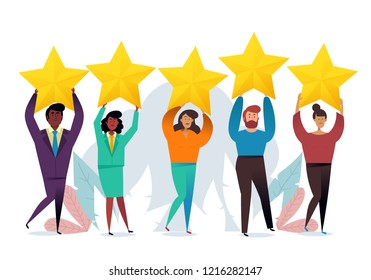 Successful work. Best estimate of performance, the score of five points. people leave feedback and comments. Highest score. Business concept vector illustration.