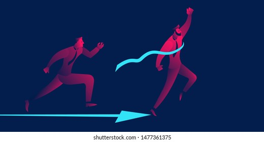 Successful young businessman winning the race, crosses the finish line, celebrates victory. business concept in red and blue neon gradient