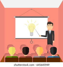 Successful young man with glasses making a presentation near whiteboard with infographics before an audience. Flat design, vector illustration, vector.