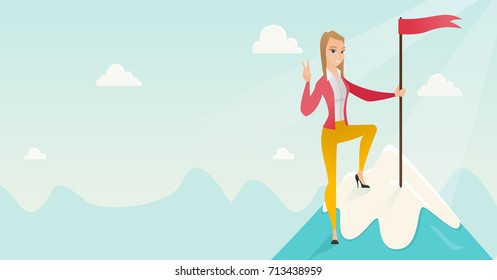 Successfull business woman achieved flag on the top of mountain symbolizing business success. Woman celebrating business success on peak of mountain. Vector flat design illustration. Horizontal layout