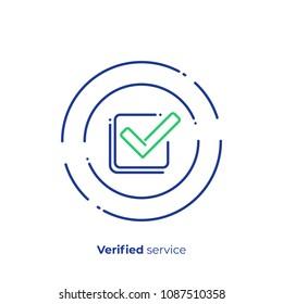 Successfull investment line art icon, verified finance organisation vector art, outline digital checklist illustration