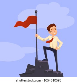 Successfull mission. Businessman standing with red flag on mountain peak. Goal achievement. Put flag on mountain peak, symbol of victory. Vector style flat. . Business concept. Cartoon characters