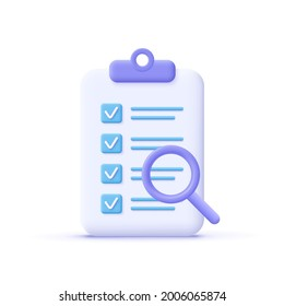 Successfully complete business assignments icon. Magnifying glass with a checklist on clipboard paper. 3d vector illustration.