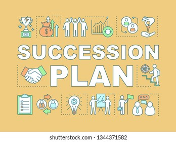 Succession plan word concepts banner. Duties transfer. Recruiting. Career growth. Business strategy. Presentation, website. Isolated lettering typography idea, linear icon. Vector outline illustration