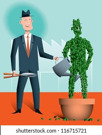 Succession planning A businessman nurturing a topiary version of himself. This represents a manager identifying and nurturing someone who can replace him when he retires or leaves the company.
