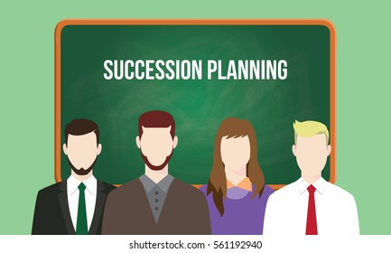 succession planning concept in a team illustration with text written on chalkboard