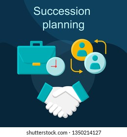 Succession planning flat concept vector icon. Career growth idea cartoon color illustrations set. Recruiting. Talent management. Business plan, strategy. Goal reaching. Isolated graphic design element