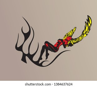 Succubus, devil girl for tattoo, stripe, decal, gaming style, car. look cool
