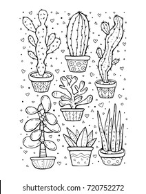 Succulent and cactus isolated. Set collection. Home plants pattern. Exotic, tropical. Vector artwork. Black and white, monochrome. Coloring book pages for adult. Boho, bohemian print