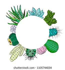 Succulent cactus set in circle artboard. Place for text. agave, aloe, gastraea, echeveria, Pachyphytum, prickly pear