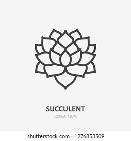 Succulent flat line icon. Vector thin sign of house plant, botanical logo. Nature illustration, home garden shop symbol.