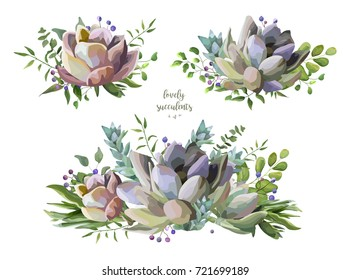 Succulent flower plant watercolor hand drawn beautiful bouquet set. Vector elegant art: greenery fern vine green leaves berry design elements illustration. Lovely editable echeveria cactus composition