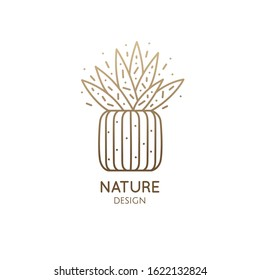 Succulent logo template. Vector illustration of houseplant in pot. Emblem of cactus or aloe, home plant, flower in linear style. Abstract stylized illustration - natural, eco product, spa, flower shop