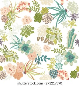 Succulent Plants Seamless Pattern Background