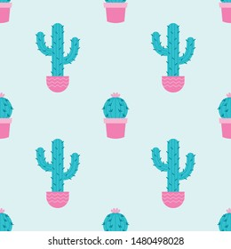 Succulents and cacti plants seamless pattern on a mint background. Vector Illustration