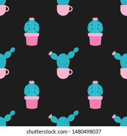 Succulents and cacti plants seamless pattern on a black background. Vector Illustration