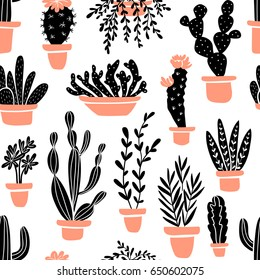 Succulents and cacti plants. Vector seamless pattern with  home garden cartoon cactus. Fabric design.