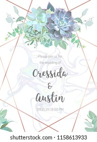 Succulents geometric vector design frame. Dusty blue echeveria, eucalyptus, greenery. Seasonal wedding card. Art deco style. Gold line art with marbled stone texture. Isolated and editable.