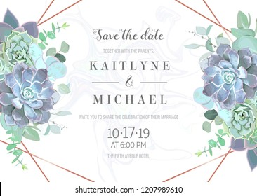 Succulents geometric vector design horizontal frame.Blue echeveria, eucalyptus, greenery.Seasonal wedding card. Art deco style.Gold line art with marbled texture.All elements are isolated and editable